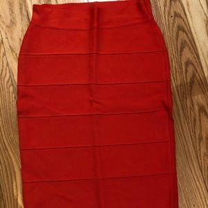 BCBG Max Azria knee length bandage skirt in red, M